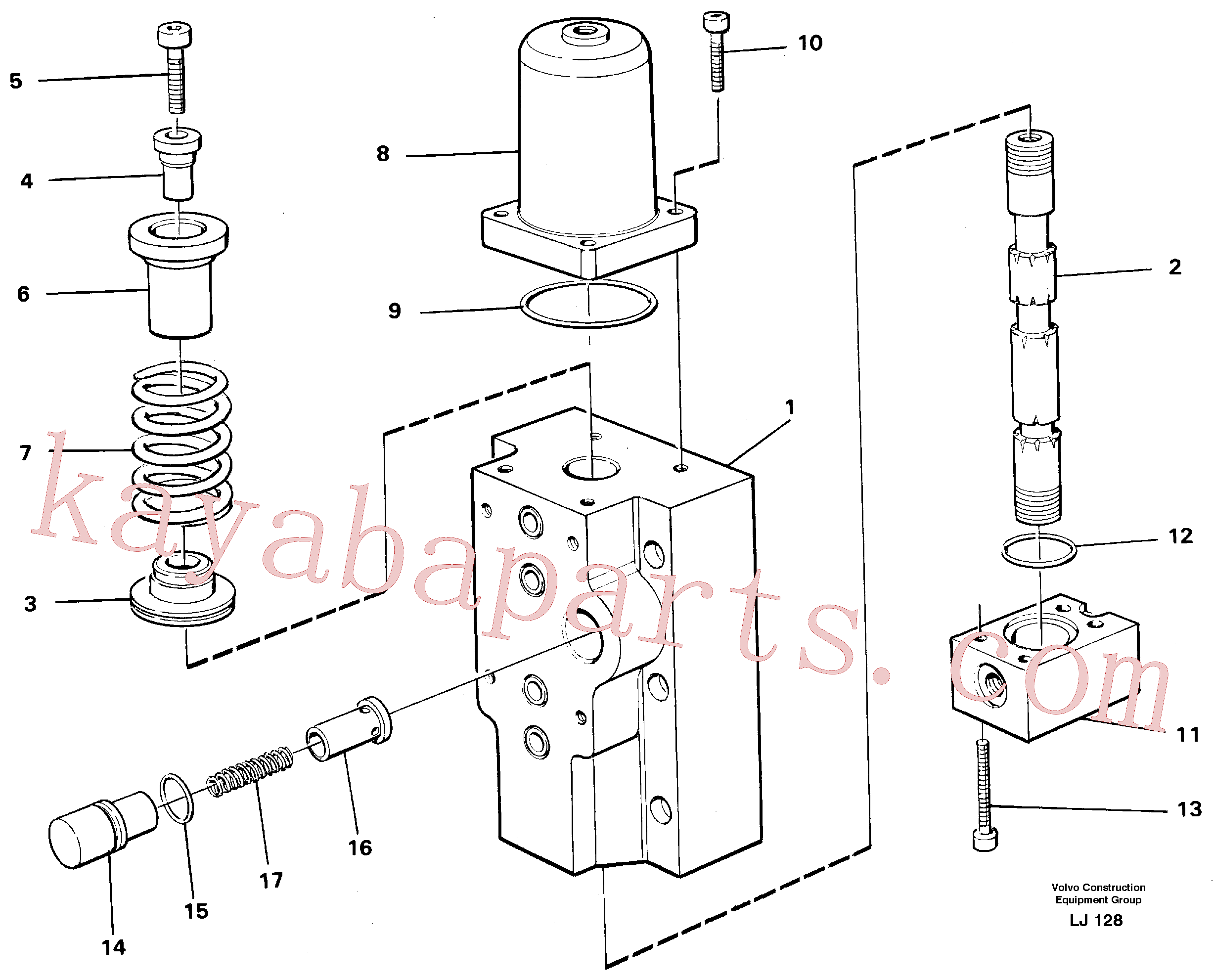 VOE14258011 for Volvo Four-way valves Primary, Four-way valve for hammer/shears(LJ128 assembly)