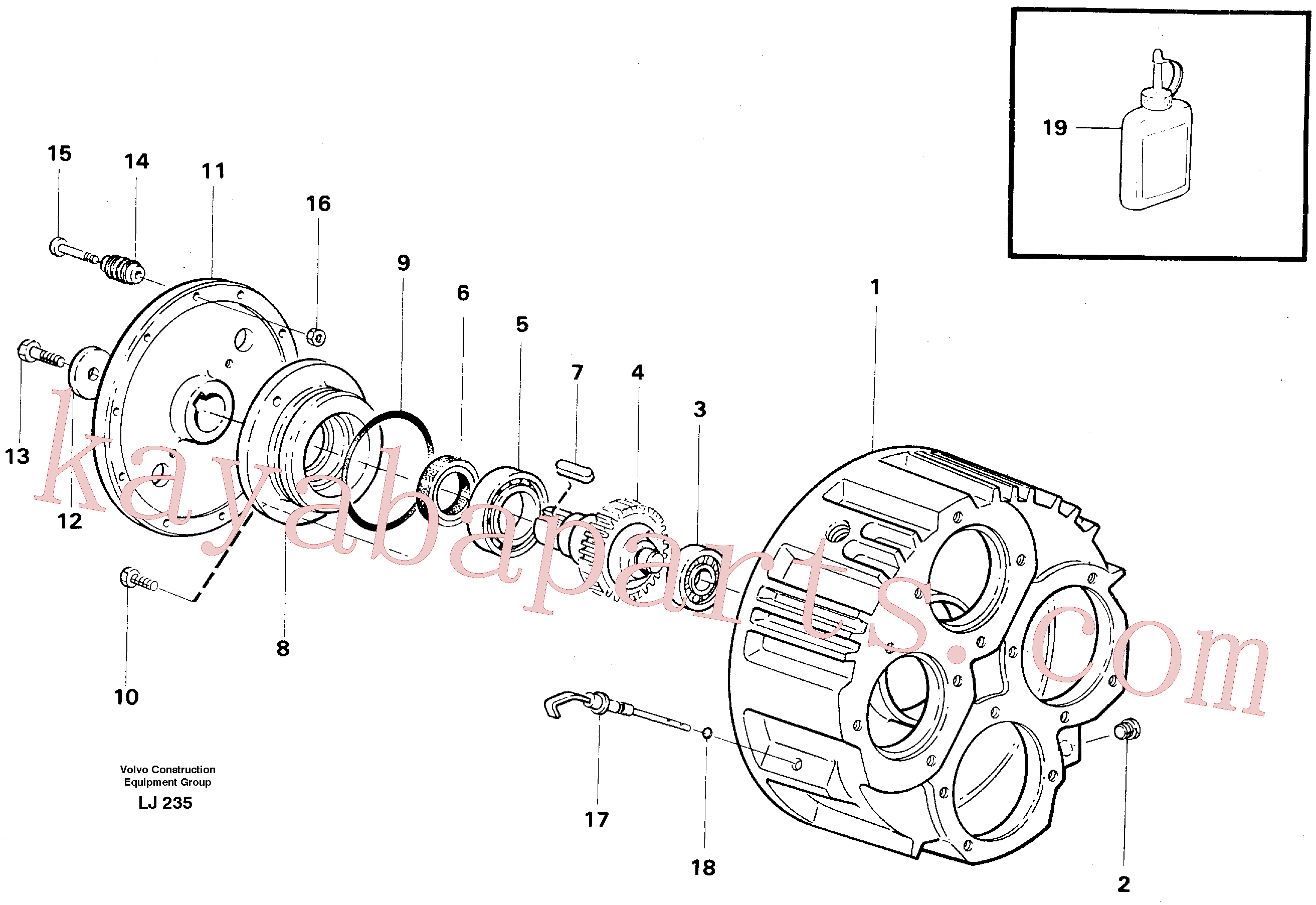 VOE14237117 for Volvo Pump gear box(LJ235 assembly)