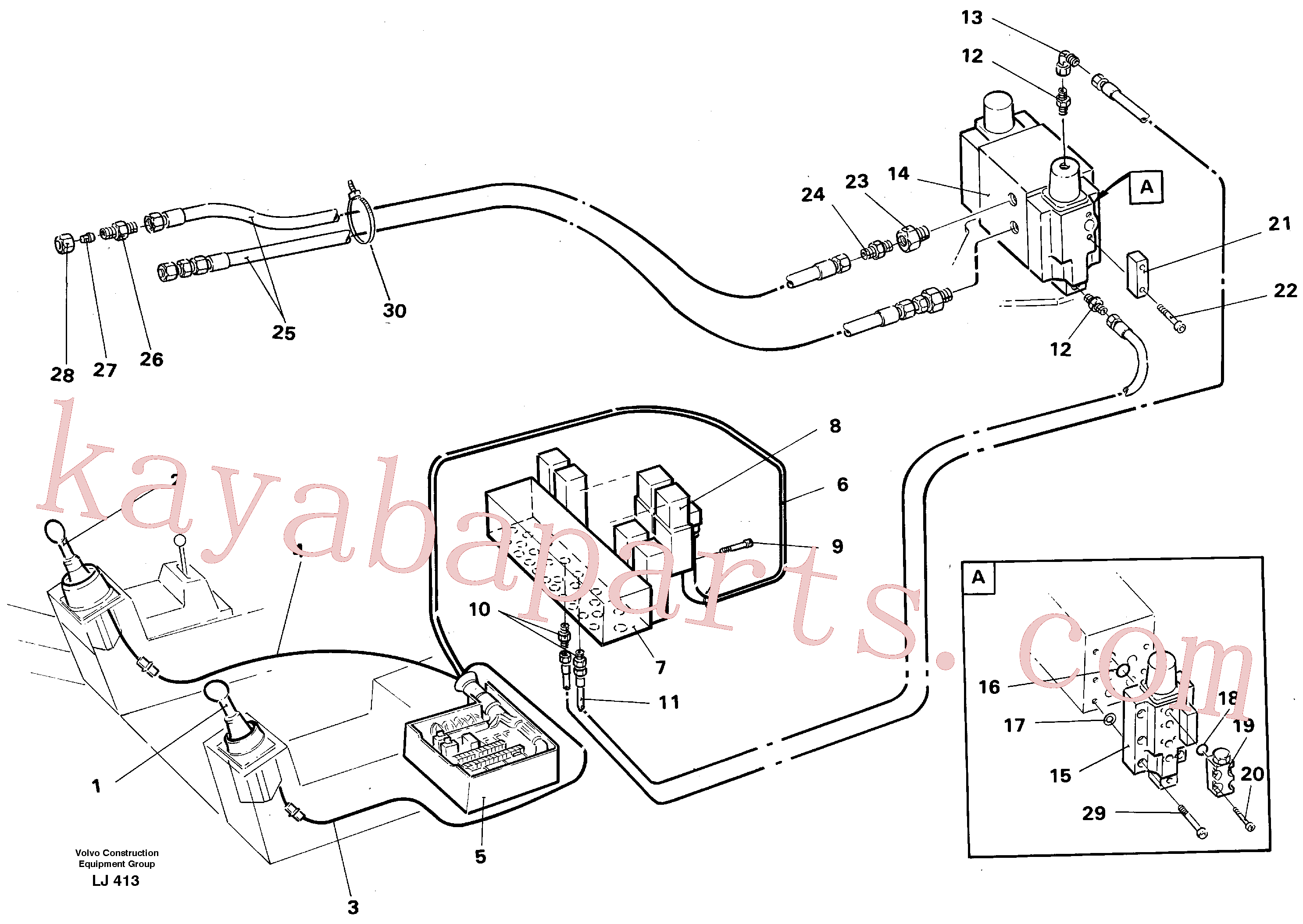 VOE14259603 for Volvo Button operated slope bucket/grab hydraulics onadj. boom.(LJ413 assembly)