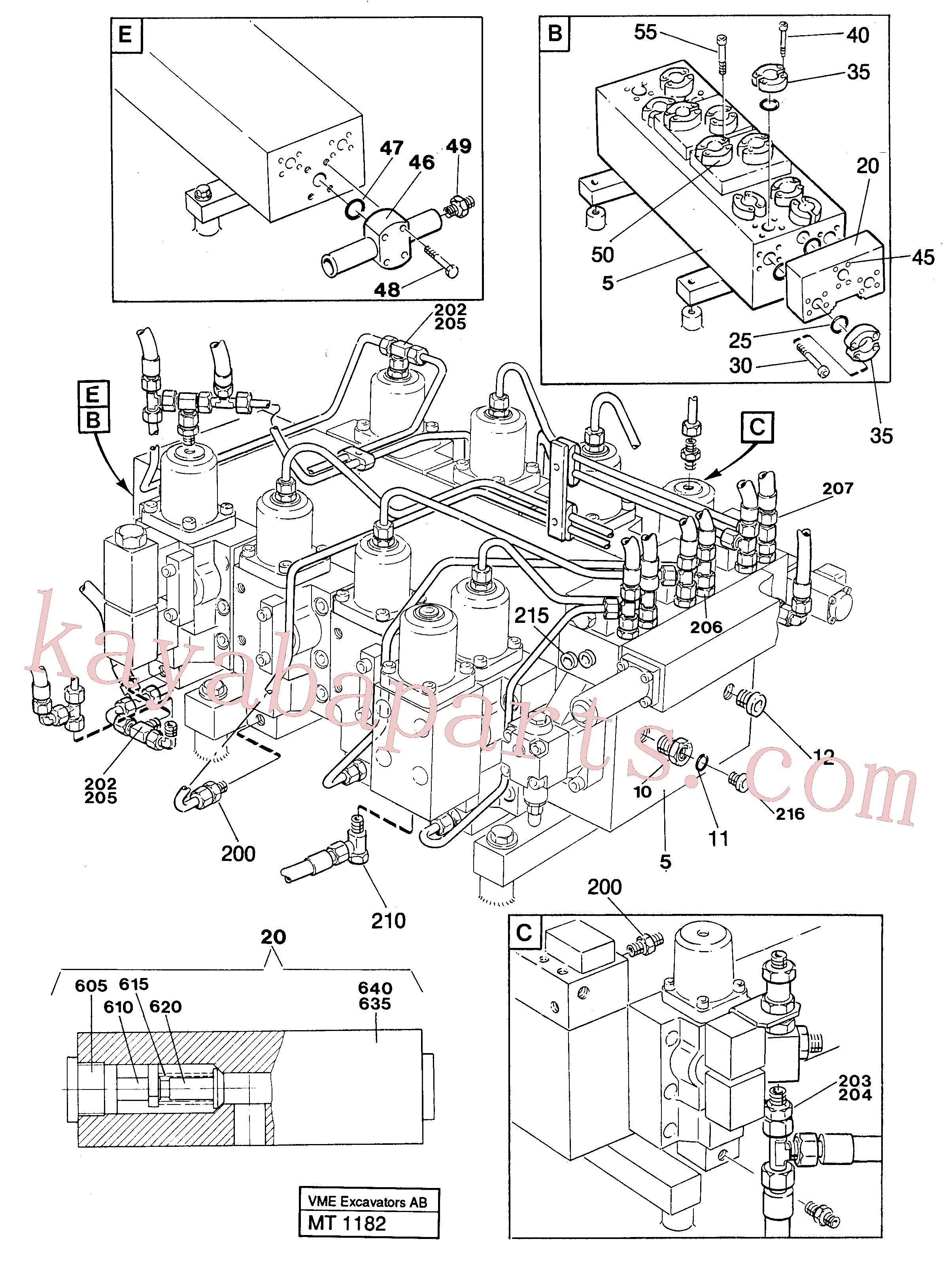 VOE14241311 for Volvo Main valve assembly with connections(MT1182 assembly)