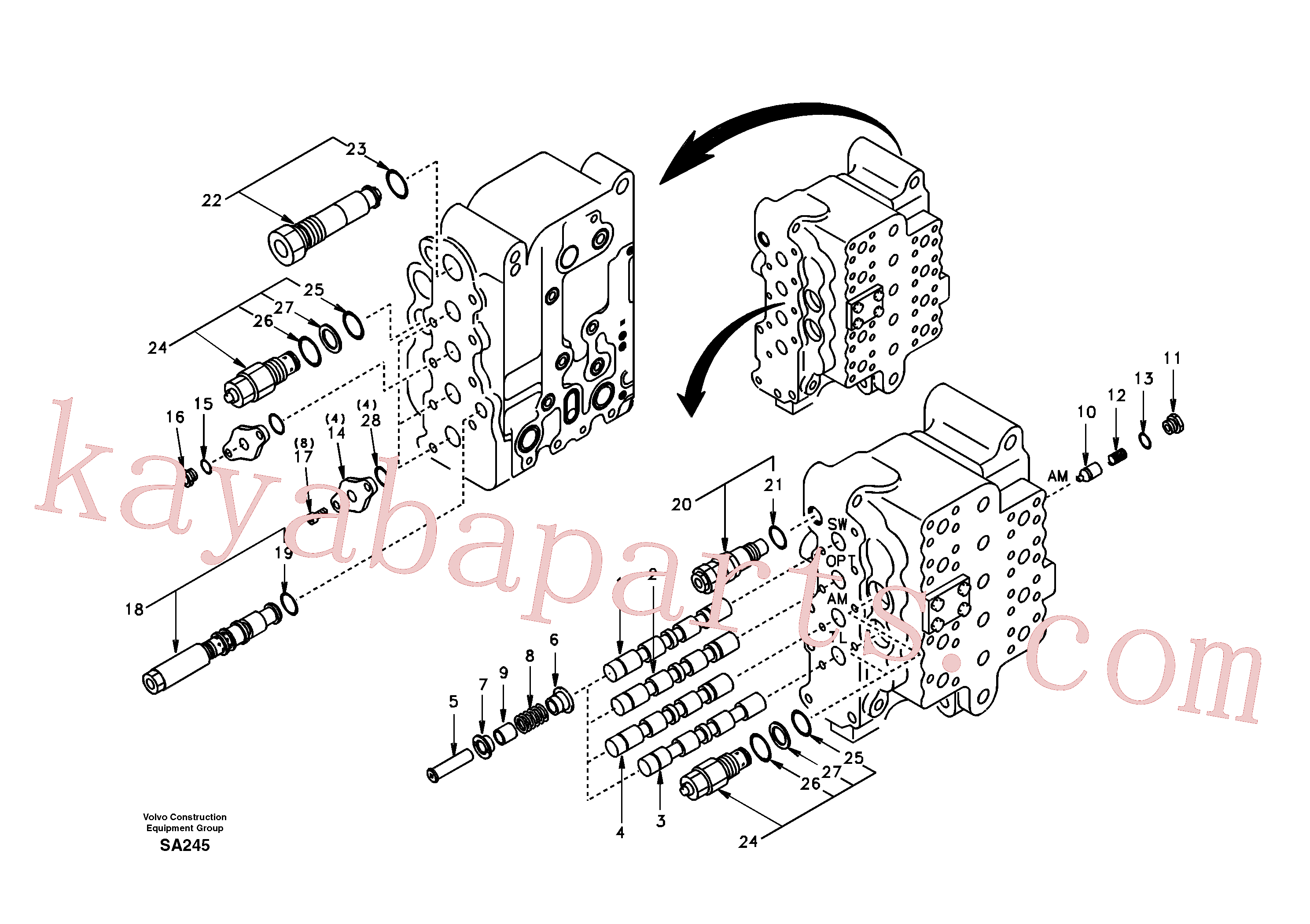 SA7272-03030 for Volvo Main control valve, swing and option and dipper arm and travel Lh(SA245 assembly)