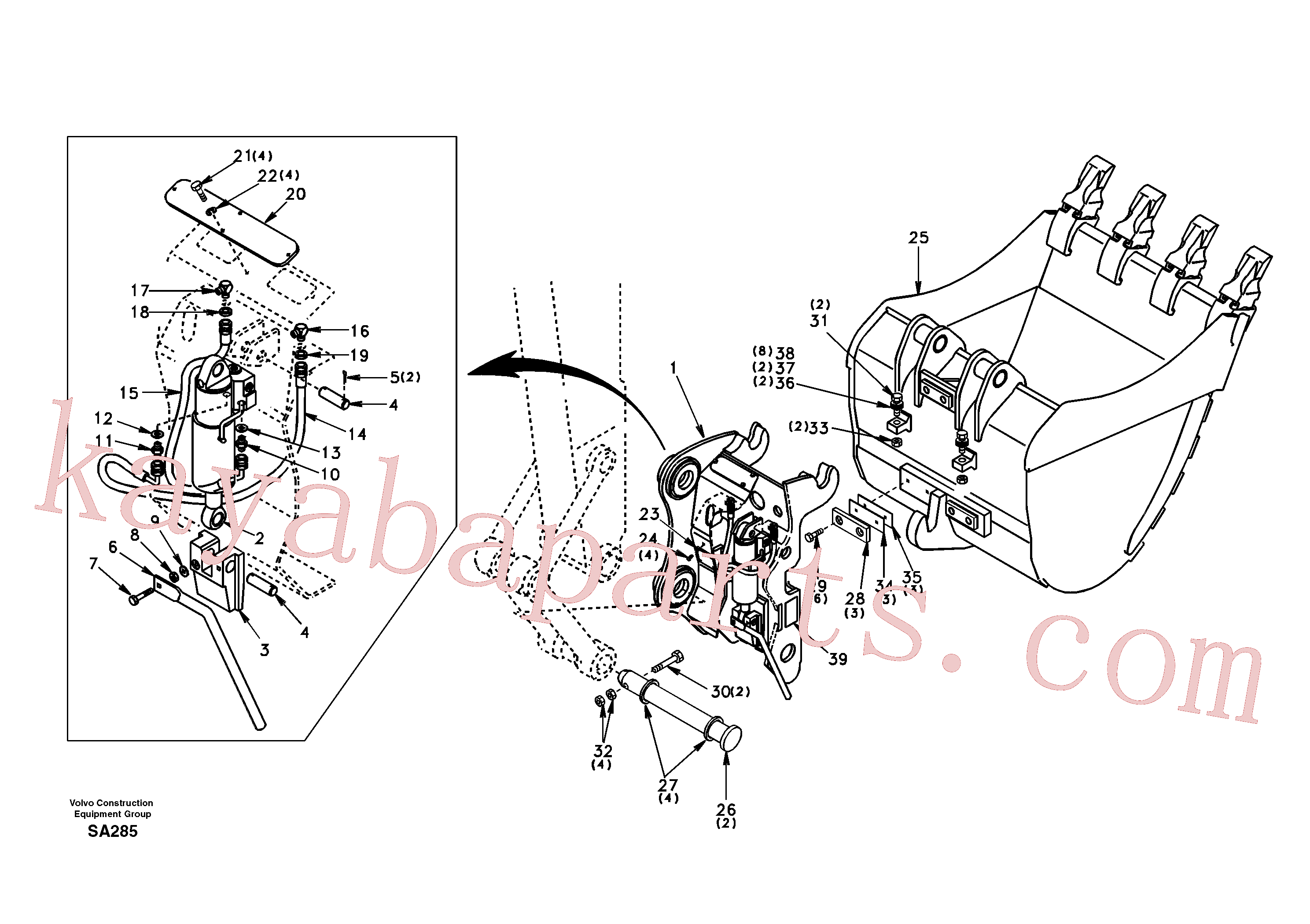 SA9011-12413 for Volvo Attachment bracket, quickfit(SA285 assembly)