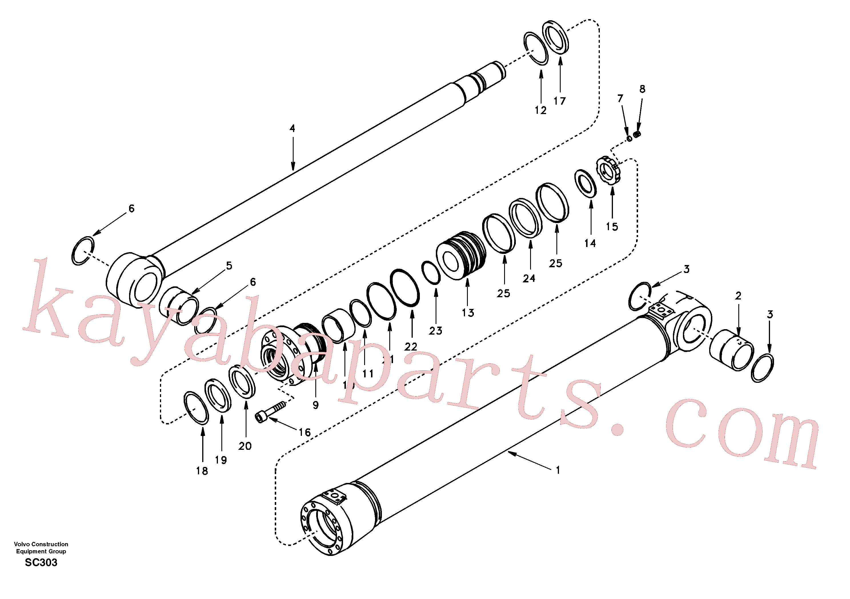 SA1146-07810 for Volvo Boom cylinder 2nd boom(SC303 assembly)