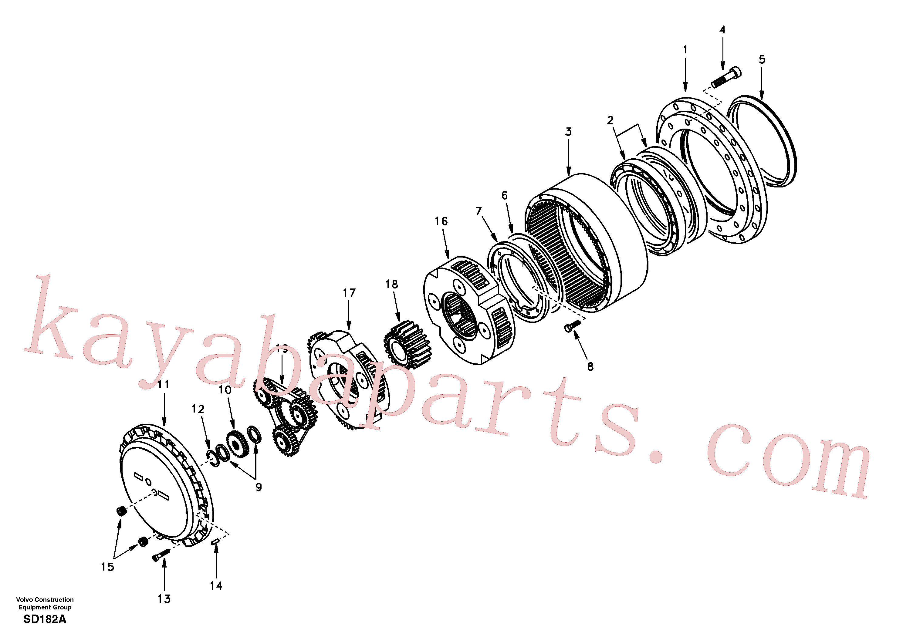 SA7117-38150 for Volvo Travel gearbox(SD182A assembly)