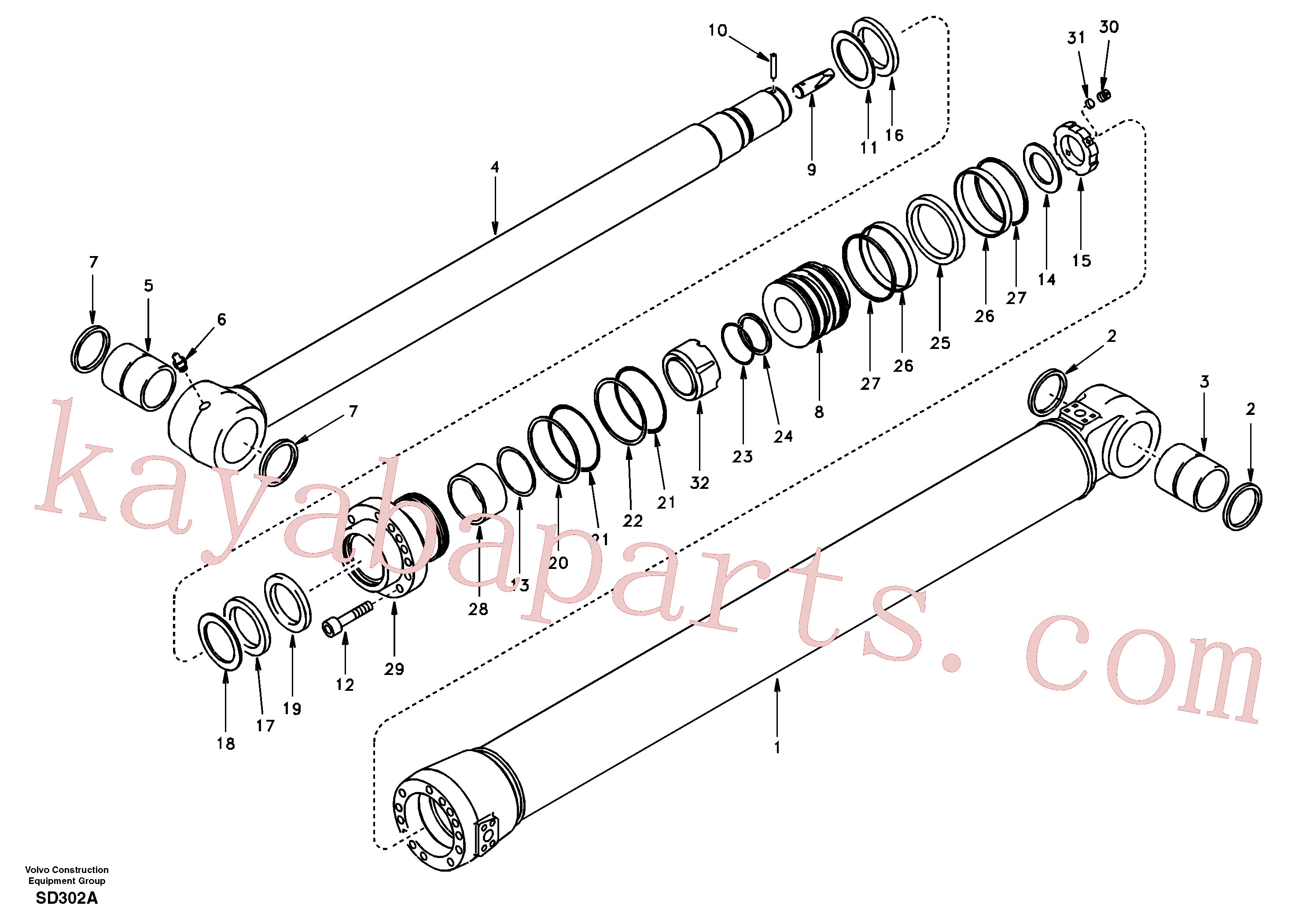 VOE14589836 for Volvo Dipper arm cylinder(SD302A assembly)