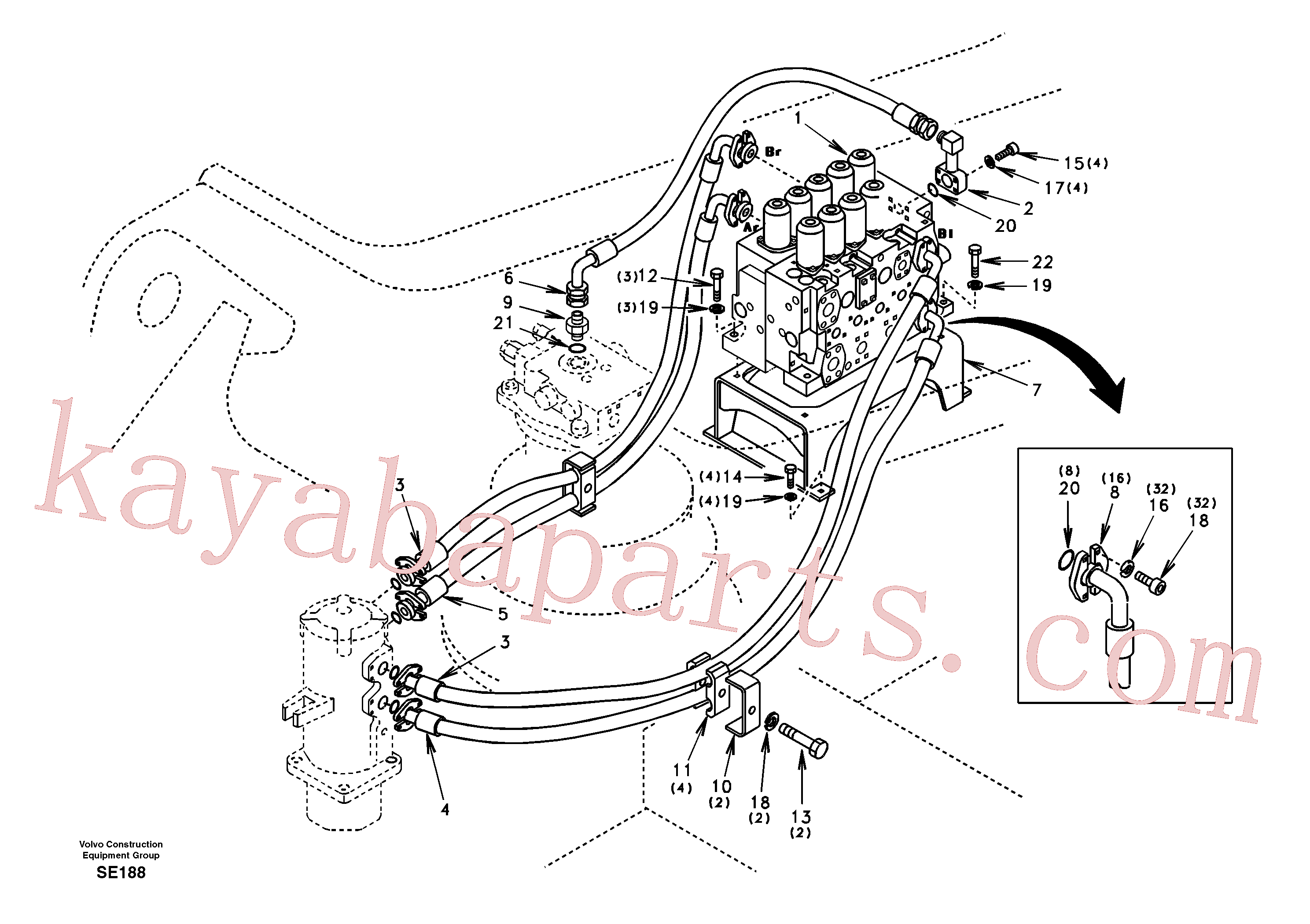 SA9453-07325 for Volvo Turning joint line, control valve to turning joint(SE188 assembly)