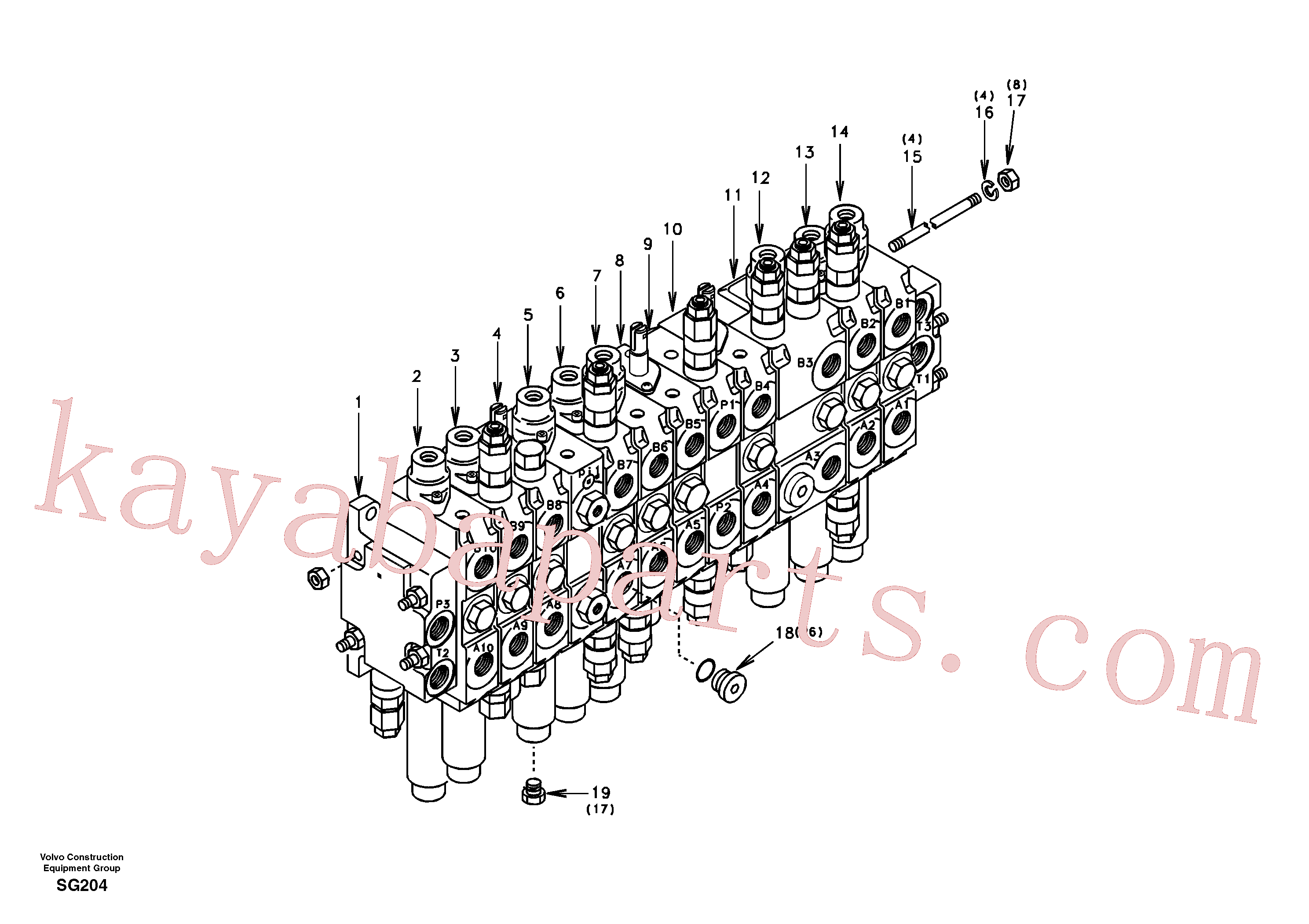 VOE14514680 for Volvo Control valve with fitting parts.(SG204 assembly)