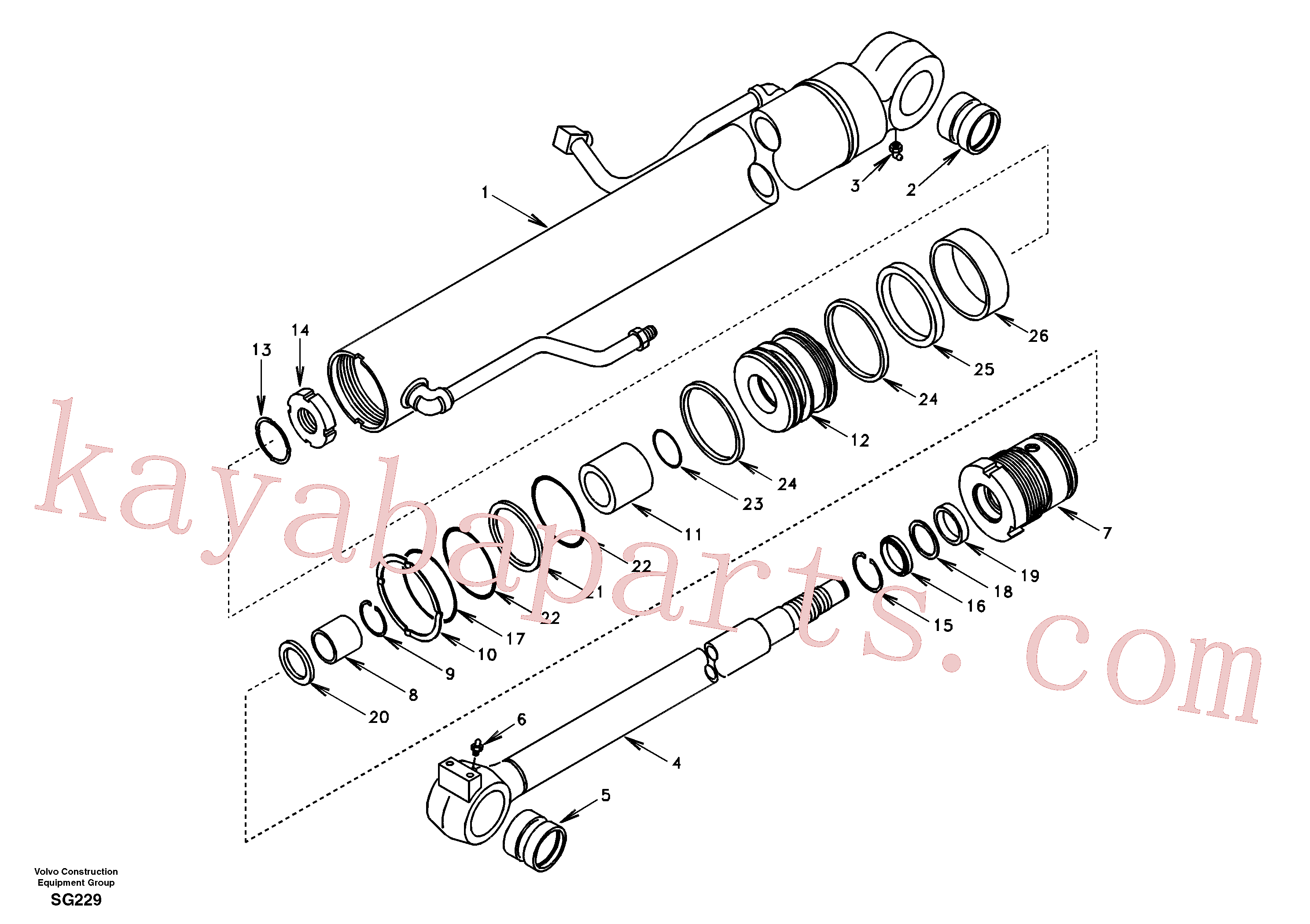 VOE990597 for Volvo Boom cylinder(SG229 assembly)
