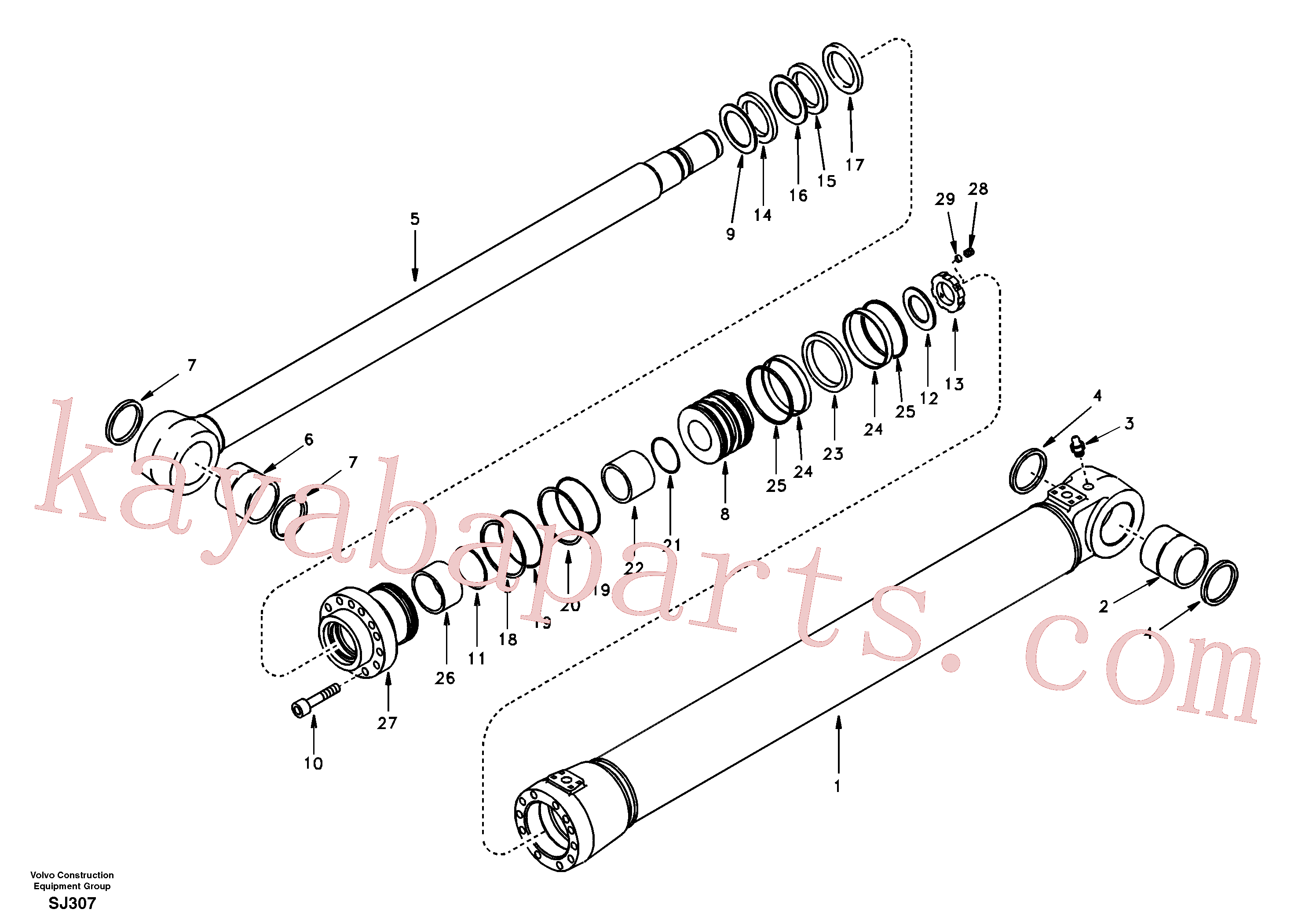 SA9561-08010 for Volvo Boom cylinder(SJ307 assembly)