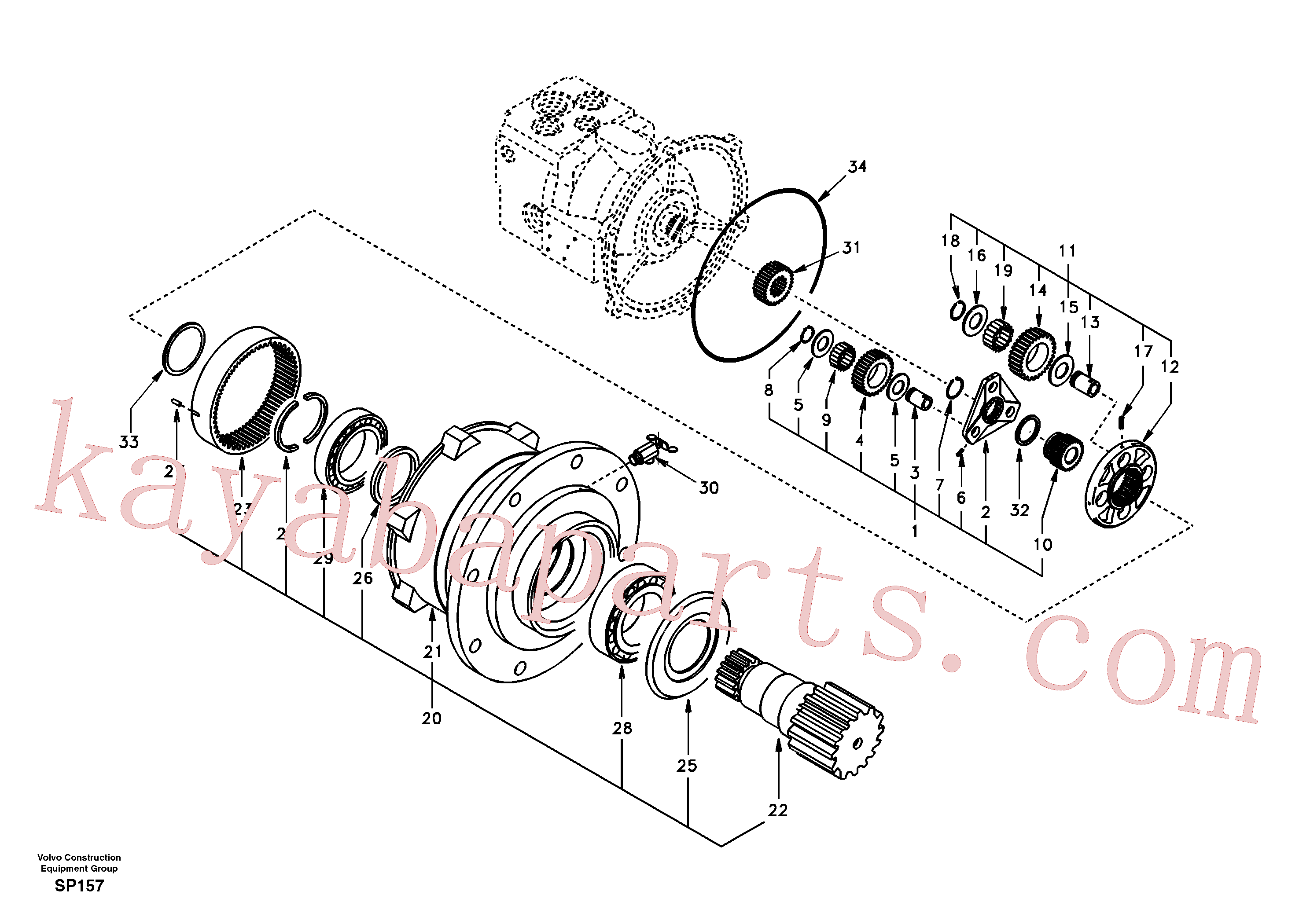 SA14504979 for Volvo Swing gearbox(SP157 assembly)