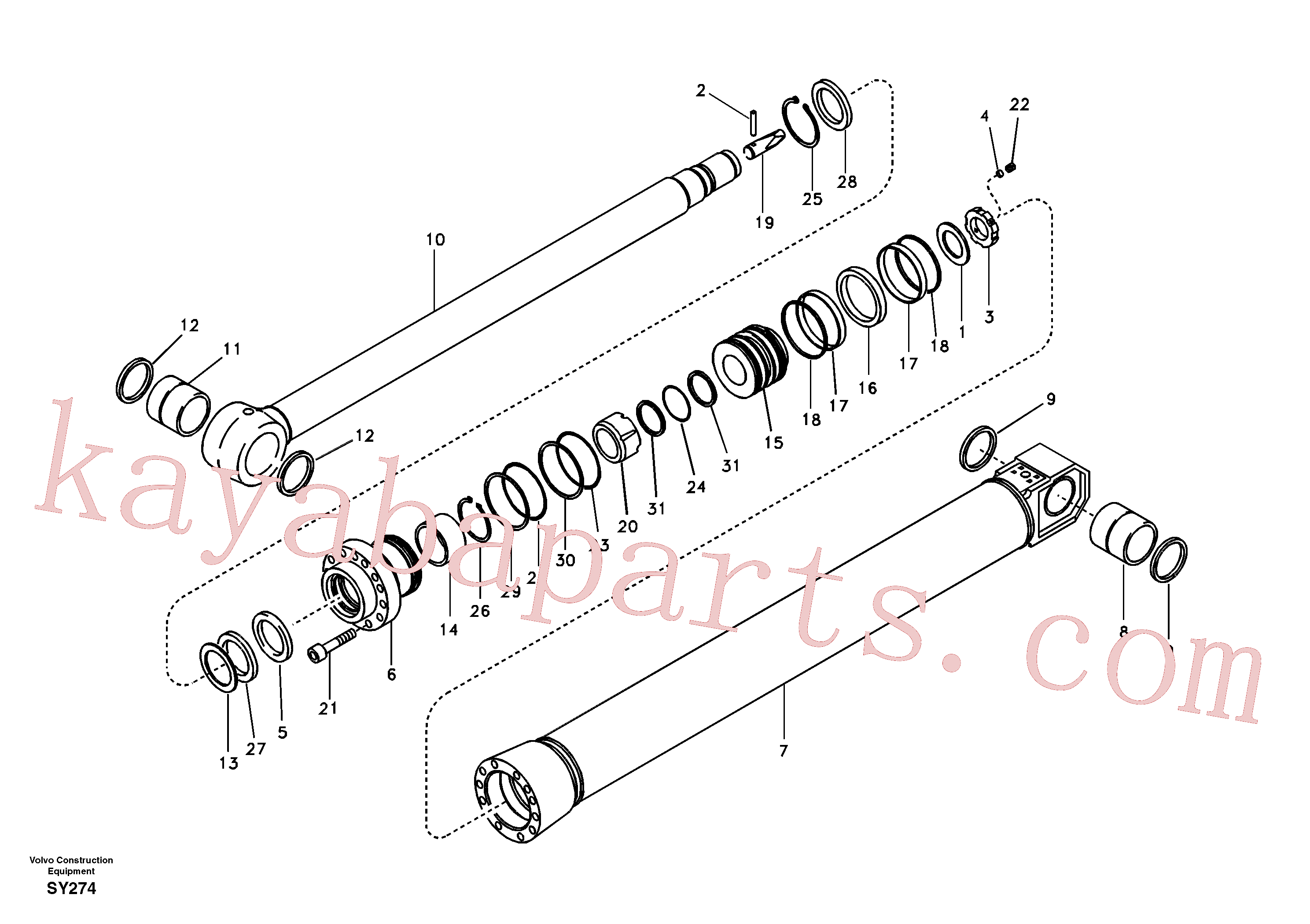 VOE14521664 for Volvo Dipper arm cylinder(SY274 assembly)