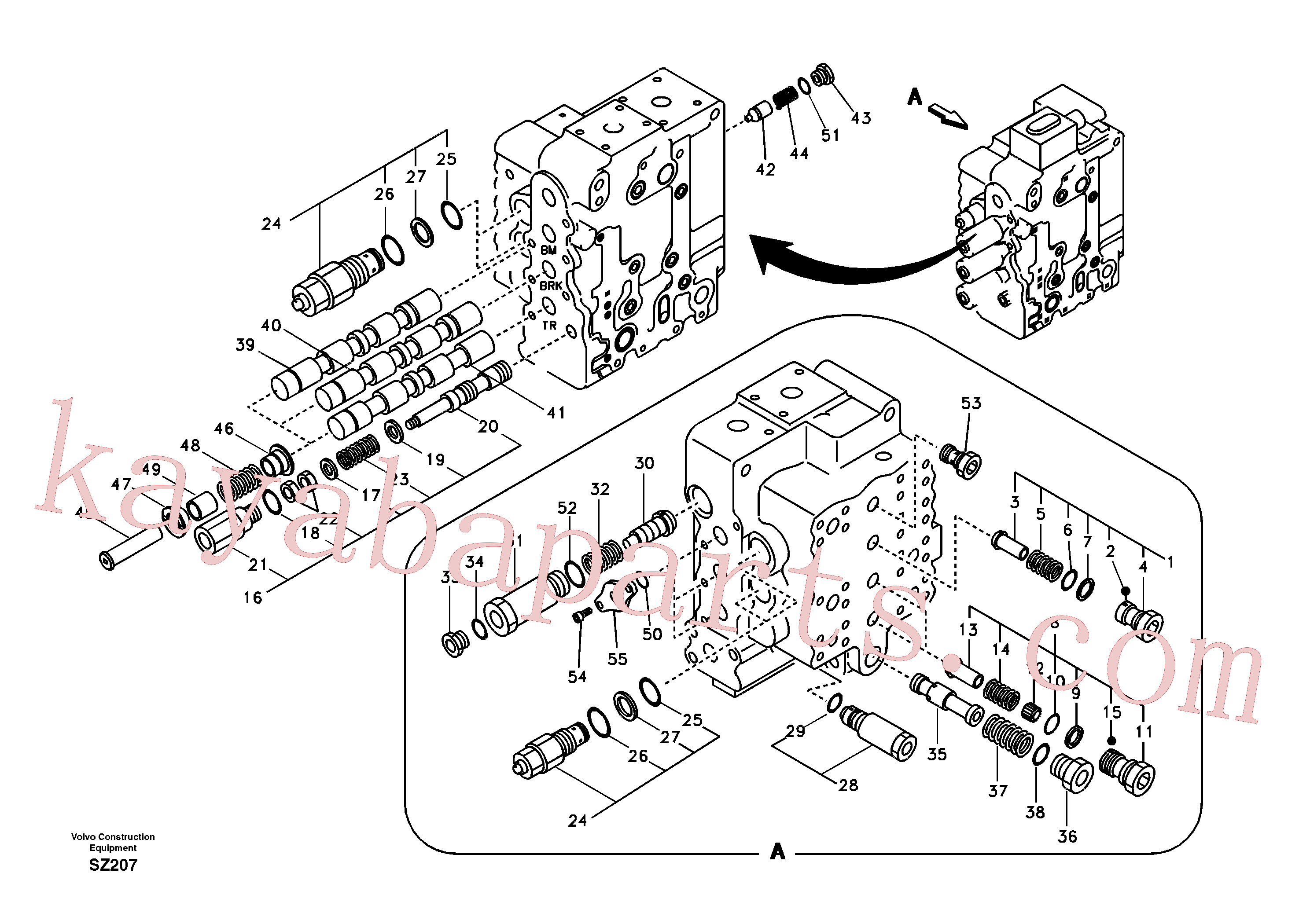 SA7272-03100 for Volvo Main control valve, boom and bucket and travel Rh(SZ207 assembly)