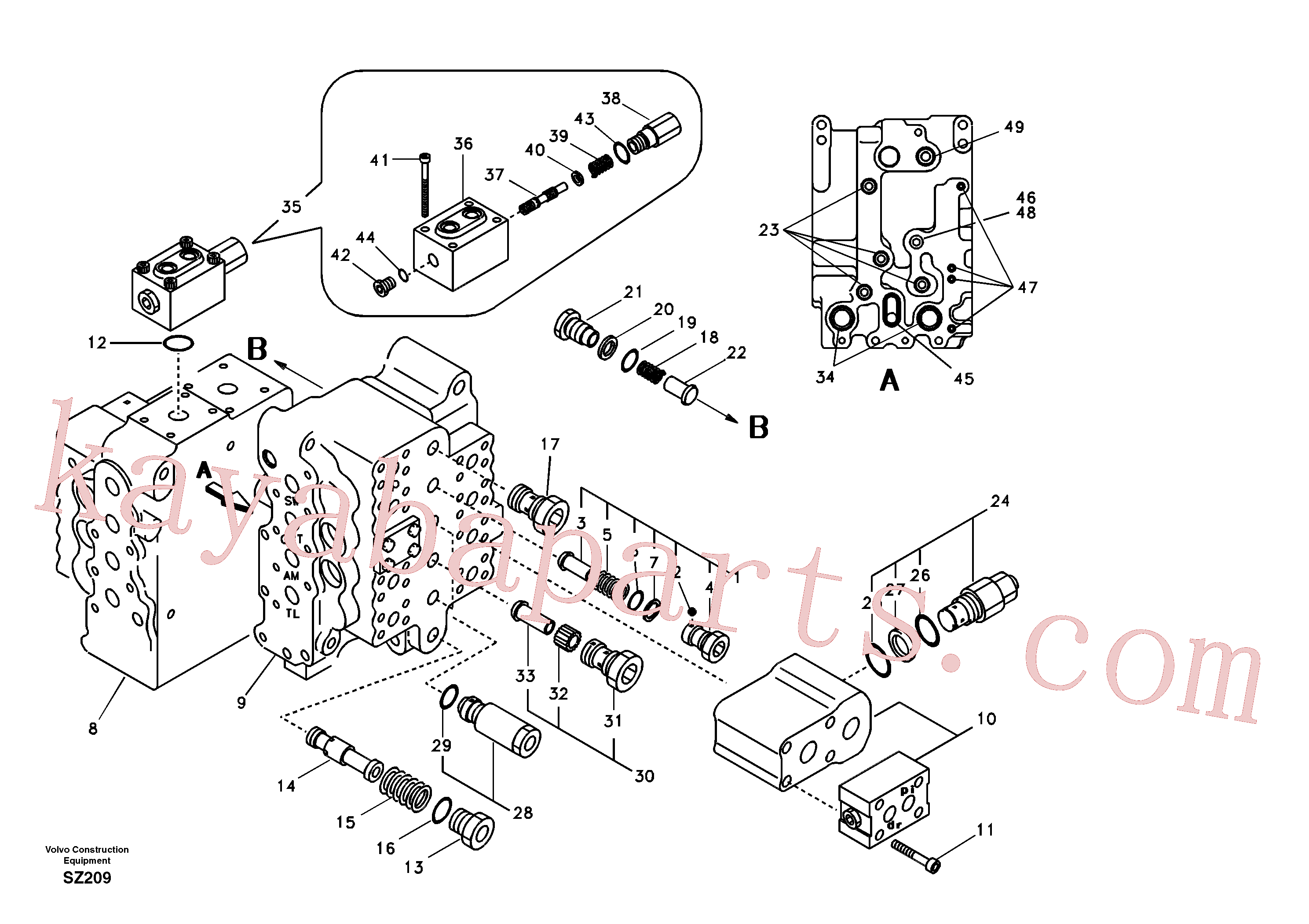 SA7272-03100 for Volvo Main control valve, swing and option and dipper arm and travel Lh(SZ209 assembly)