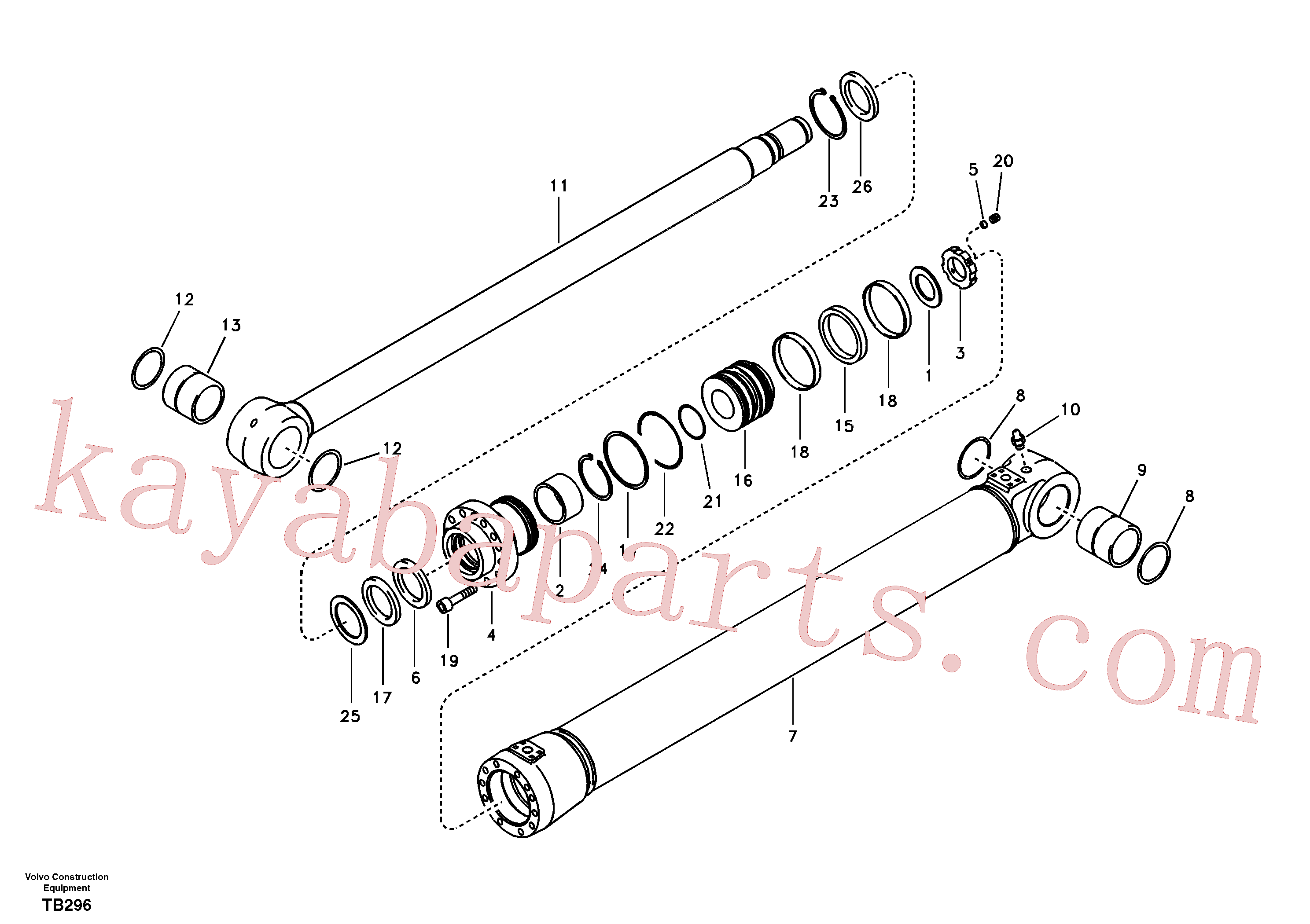 VOE14589123 for Volvo Boom cylinder, adjustable 2nd(TB296 assembly)